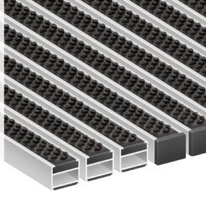 Придверная грязезащитная алюминиевая решетка 22 Щетка