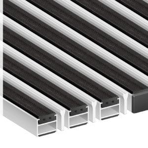 Придверная грязезащитная алюминиевая решетка 22 Резина Скребок
