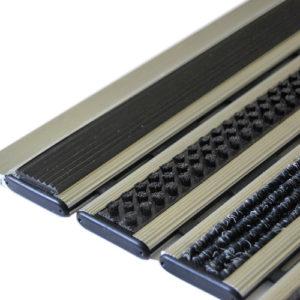Придверная грязезащитная алюминиевая решетка 12 Резина Щетка Ворс