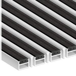 Придверная грязезащитная алюминиевая решетка 26 Резина Скребок