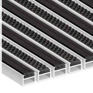 Придверная грязезащитная алюминиевая решетка Усиленный 22 Резина Щетка
