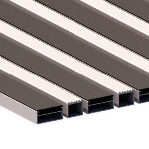 Придверная грязезащитная алюминиевая решетка 40 Резина Широкий Скребок