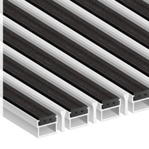 Придверная грязезащитная алюминиевая решетка Стандарт 22 Резина Скребок